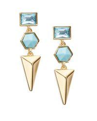 Trina Turk Blue Hexagon Triple Drop Earrings