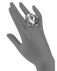 Alexis Bittar | Metallic Aqua Crackle Stone & Pave Crystal Lucite Blister Cocktail Ring | Lyst