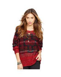 Denim & Supply Ralph Lauren - Red Fringed Wool-blend Sweater - Lyst