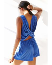 Silence + Noise Blue Two Twisted Romper