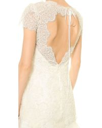Marchesa White Re-embroidered Lace Gown