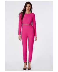 Missguided Mesh Insert Jumpsuit Hot Pink