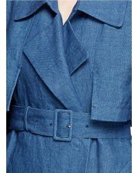 Mame Orange Linen Chambray Trench Coat