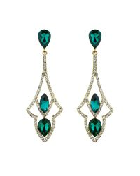Mikey | Green Diamond Design Curved Drop Earring | Lyst