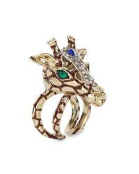 Roberto Cavalli | Metallic Gold Plated Swarovski Crystal Giraffe Ring | Lyst