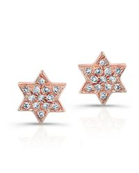 Anne Sisteron | Pink 14kt Rose Gold Jewish Star Stud Earrings | Lyst