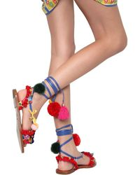 Dolce & Gabbana | Multicolor 20mm Pompom & Tassels Leather Sandals | Lyst