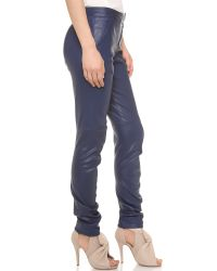 Zero + Maria Cornejo Blue Zero Maria Cornejo Leather Curve Knee Leggings