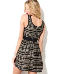 AKIRA - Metallic Embroidered Party Dress - Lyst