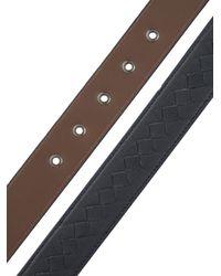 Bottega Veneta Blue Intrecciato Leather 3.5Cm Buckle Belt for men