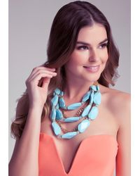 Bebe - Blue Stone Statement Necklace - Lyst