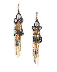 Alexis Bittar | Metallic Elements Dark Phoenix Semi-Precious Multi-Stone & Crystal Tassel Drop Earrings | Lyst