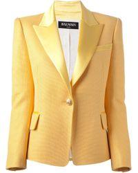 Balmain | Yellow Satin Lapel Blazer | Lyst