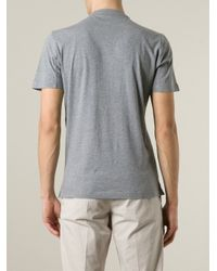 Brunello Cucinelli - Gray Band Collar Polo Shirt for Men - Lyst