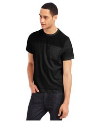 Kenneth Cole Reaction Black Chambray Crew-Neck T-Shirt for men