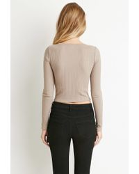 Forever 21 | Brown Ribbed Knit Crop Top | Lyst
