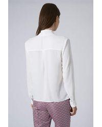 TOPSHOP - White Drape Front Blouse - Lyst