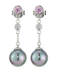 Majorica - Blue Pearl & Cz Chain Drop Earrings - Lyst