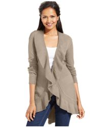 Style & Co. | Brown Long-sleeve Ruffle-trim Cardigan | Lyst