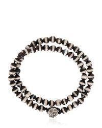 Luis Morais - Black Double Wrap Mantra Beaded Bracelet - Lyst