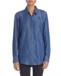Lord & Taylor | Blue Denim Roll-tab Shirt | Lyst