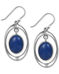 Lucky Brand - Silver-tone Blue Drop Earrings - Lyst