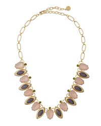 R.j. Graziano | Pink Mixed-cut Rhinestone Leaf Necklace | Lyst