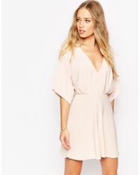 ASOS - Natural Kimono Plunge Mini Dress - Pink - Lyst
