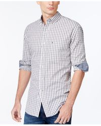 Izod | Black Long-sleeve Small Plaid Button-down Shirt for Men | Lyst