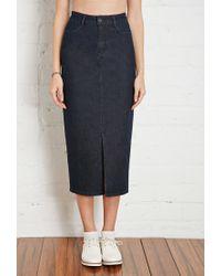 Forever 21 | Blue High-slit Denim Midi Skirt | Lyst