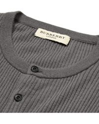 Burberry - Gray Ribbed Cashmere Henley T-Shirt for Men - Lyst