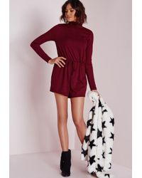 Missguided | Purple Ribbed Long Sleeve Playsuit Burgundy | Lyst
