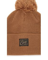 Obey | Brown Luxembourg Pom Beanie for Men | Lyst