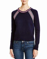 Aqua | Black Cashmere Cashmere Stripe Raglan Sweater | Lyst
