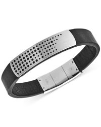 Emporio Armani - Metallic Stainless Steel Black Leather Bracelet Egs2004040 for Men - Lyst