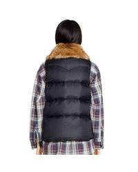 Denim & Supply Ralph Lauren | Black Faux-fur-trim Down Vest | Lyst