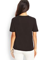Forever 21 - Black Contemporary Love Defined Woven Tee - Lyst