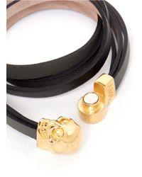 Alexander McQueen - Black Double Wrap Leather Skull Bracelet - Lyst