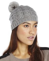 Surell | Gray Cable Knit Real Fur Pom-Pom Beanie | Lyst