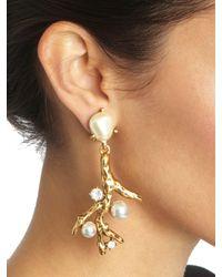 Oscar de la Renta Metallic Coral Earrings