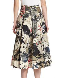Donna Karan - Natural Street Art Printed Cotton Skirt - Lyst