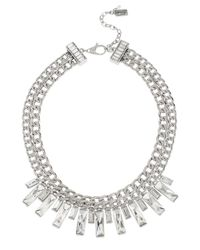 Kenneth Cole - Metallic Sparkled Baguette Chain Necklace - Lyst