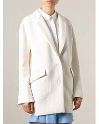 Vanessa Bruno Athé White Textured Boyfriend Coat