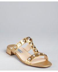 Prada - Metallic Gold Crosshatched Leather Crystal Embellished Tstrap Sandals - Lyst