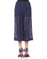 MSGM - Blue Cropped Wide-Leg Lace Pants - Lyst