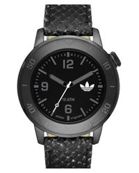Adidas Originals - Black 'manchester' Leather Strap Watch for Men - Lyst