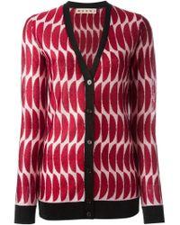 Marni - Red Intarsia Knit V-neck Cardigan - Lyst