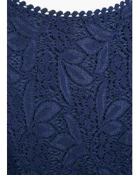 Mango | Blue Lace Trim Dress | Lyst