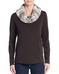 Saks Fifth Avenue Black Label - Brown Faux Fur Cowlneck Sweater - Lyst