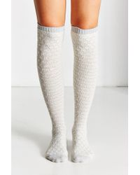 Urban Outfitters | Gray Diamond Jacquard Over-the-knee Sock | Lyst
